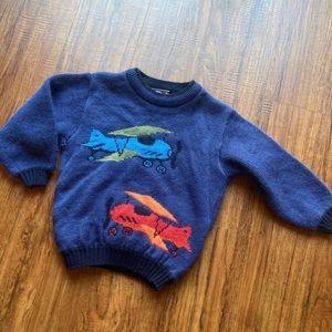Plaid moose vintage airplane sweater size 4t